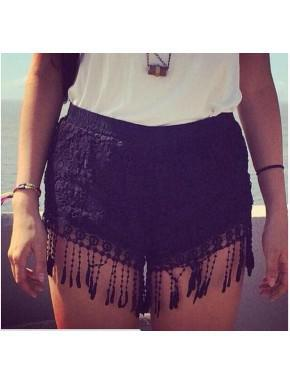 Knitted Black Shorts