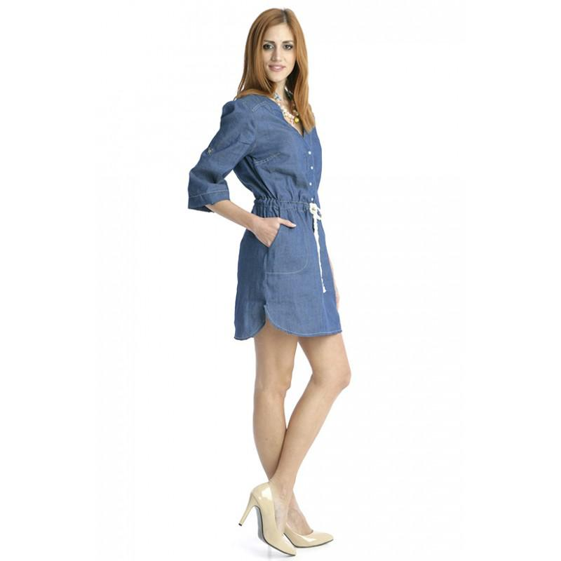 5b9320374a ... Jeans Dress With Strap In the Middle